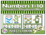 Numbers 1-10 Character PlayDough Mats with Lines & Tracing Strips-INSECTS
