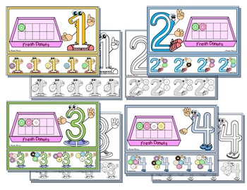 Numbers 1-10 Character PlayDough Mats with Lines & Tracing Strips-DONUTS