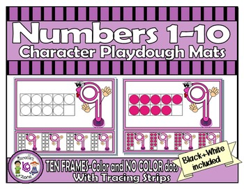Numbers 1-10 Character PlayDough Mats with Lines & Tracing Strips-TEN FRAMES