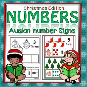 Numbers 1-10- Christmas Edition with Auslan Number signs.