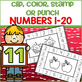 Numbers 1-20 - Clip, Color, Stamp Punch Cards