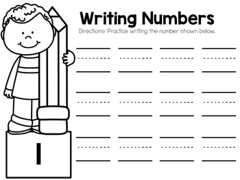 Numbers 1-10 Color, Cut, and Paste Math Journal for Special Education