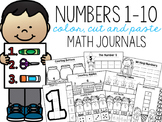 Numbers 1-10 Color, Cut, and Paste Math Journals