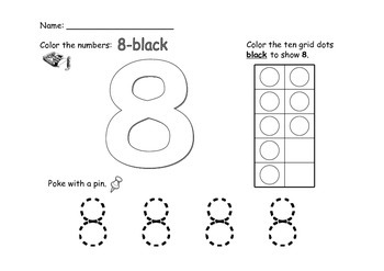 Numbers 1-10: Color, Poke, Stamp