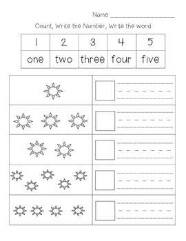 numbers 1 10 count write number write word by jennifer harman tpt. Black Bedroom Furniture Sets. Home Design Ideas