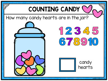 Numbers 1-10 Counting Candy Hearts for Google Drive and Google Classroom