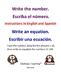 Numbers 1-10 English/Spanish - trace, write an equation, draw a picture