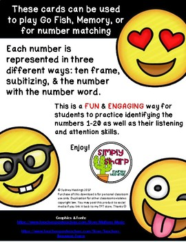 EMOJI Numbers 1-20 Card Game