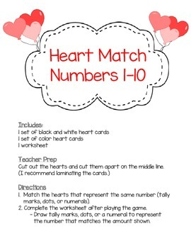 Numbers 1-10 Heart Match