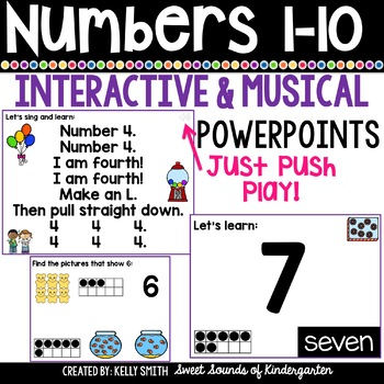 Numbers 1-10 Interactive Powerpoints {Number Powerpoints & Songs}