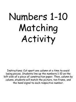 Numbers 1-10 Matching