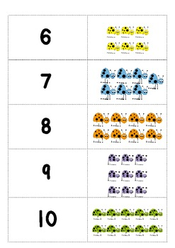 Numbers 1-10 Matching, number sense games (Lady bugs)