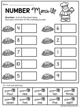 Focus St 0 60 >> Number Words Match-Up Activity {Numbers 1-10} by Polliwog Place | TpT