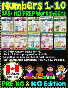 Number Worksheets (1-10) PRE-KG+ KG MATH WORKSHEETS- UK BUNDLE-CCSS