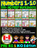 Number Worksheets (1-10) PRE-KG+ KG MATH WORKSHEETS- UK BUNDLE-CCSS