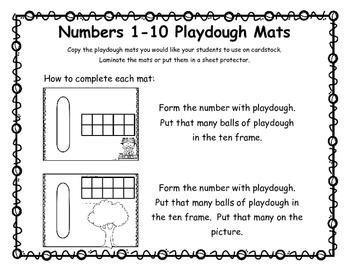 Numbers 1-10 Playdough Mats