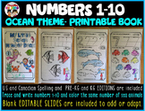 Numbers 1-10 Printable books- Sea Life theme with Editable slides