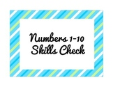 Numbers 1-10 Skills Check (Progress Monitoring)