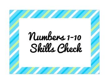 Numbers 1-10 Skills Check (Progress Monitoring)