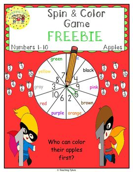 Numbers 1-10 Spin and Color Apples FREEBIE