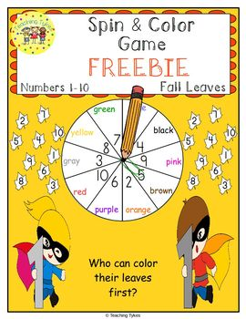 Numbers 1-10 Spin and Color Fall FREEBIE