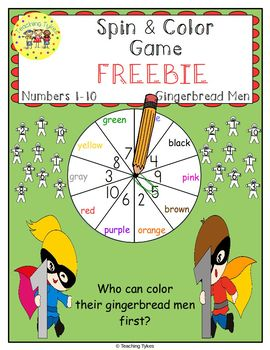 Numbers 1-10 Spin and Color Christmas FREEBIE