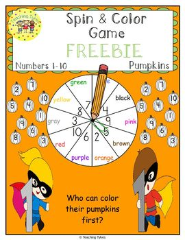 Numbers 1-10 Spin and Color Pumpkins FREEBIE