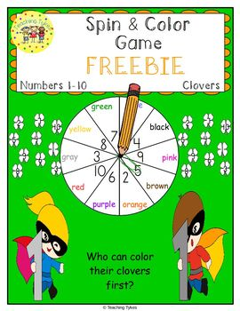 Numbers 1-10 Spin and Color St. Patrick's Day FREEBIE