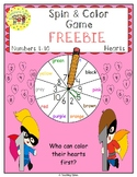 Numbers 1-10 Spin and Color Valentine's Day FREEBIE