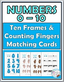 Numbers 1-10 Ten Frames & Counting Fingers Matching Cards