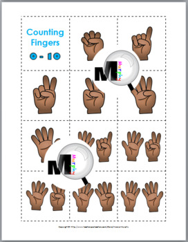 Ten Frames Number Cards & Counting Fingers Matching Cards 0-10 (Finger Counting)