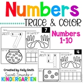 Numbers 1-10 Trace and Color Worksheets