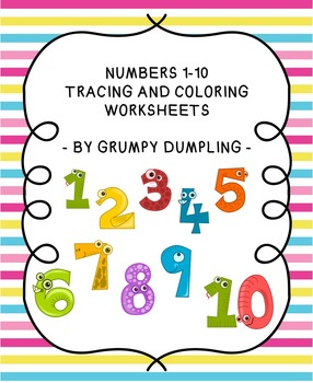 Numbers 1-10 Tracing and Coloring Pages