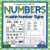 Numbers 1-10- Transportation Edition with Auslan Number signs.