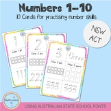 Numbers 1-10 - Using Australian School Fonts (NSW/ACT)