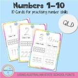 Numbers 1-10 - Using Australian School Fonts (QLD)