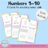 Numbers 1-10 - Using Australian School Fonts (South Australia)