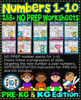 Number Worksheets 1-10 (PRE-KG+ KG)  BUNDLE-CCSS