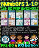 Number Worksheets 1-10 (PRE-KG+ KG)  BUNDLE-CCSS