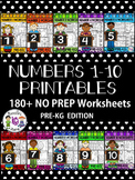 Number Worksheets 1-10- PRE-KG- Preschool- Counting and Cardinality CCSS
