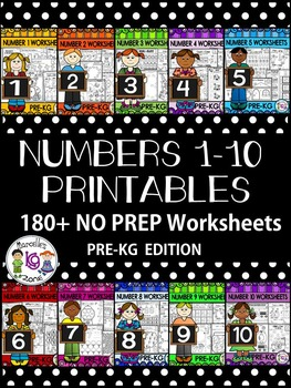 Number Worksheets 1-10- PRE-KG- Preschool- Counting and Ca