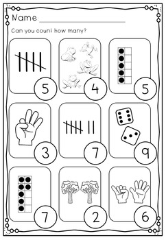 Numbers 1 - 10 No Prep Worksheets: Number Bonds, Ten Frames, Tally Marks & More