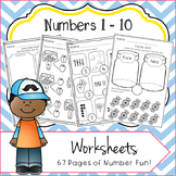 Numbers 1 - 10 No Prep Worksheets: Number Bonds, Ten Frame