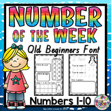 Numbers 1-10 Worksheets QLD Beginners Font