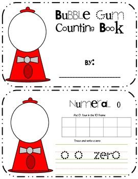 Numbers 1-10 counting bubble gum book