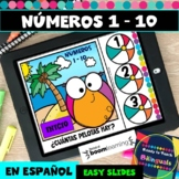 Numbers 1-10 in Spanish - Counting Beach Balls - Boom Card