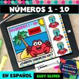 Numbers 1-10 in Spanish - Counting Crabs - Boom Cards -Dis