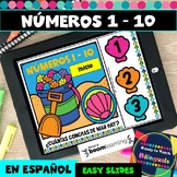 Numbers 1-10 in Spanish - Counting Seashells - Boom Cards