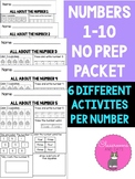 Numbers 1-10 no prep packet for preschool, pre k and kindergarten