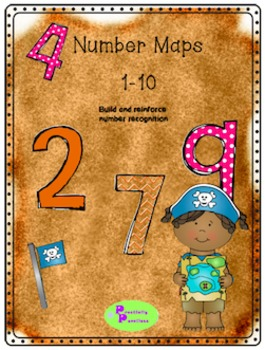 Numbers 1-10, number cut and match, pirate map themed
